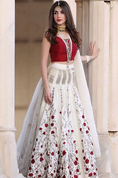Captivating White Colored Party Wear Embroidered Taffeta Silk Lehenga Choli