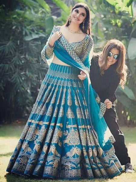 Arresting Blue Colored Party Wear Embroidered Silk Lehenga Choli With Peacock Print - SL1067