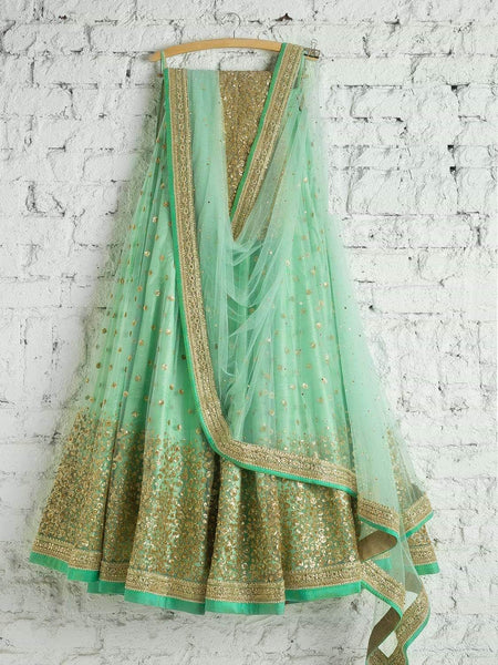 Beautiful Turquoise Colored Net Fabric Lehenga Choli With Dupatta - SL1068