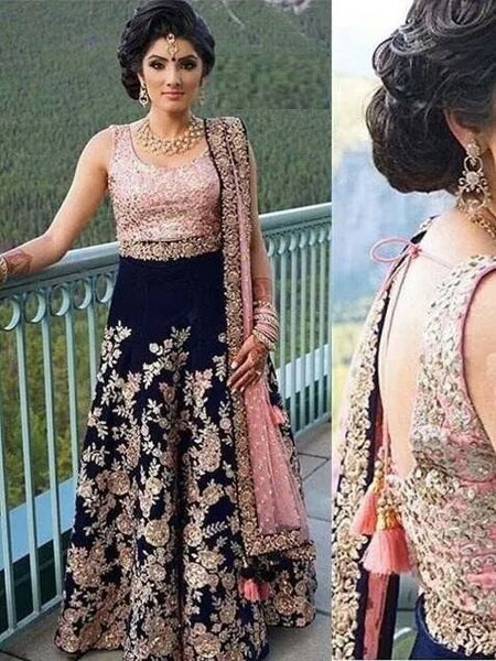Navy Blue Colored Taffeta Silk Fabric Embroidered Lehenga Choli - SL1069