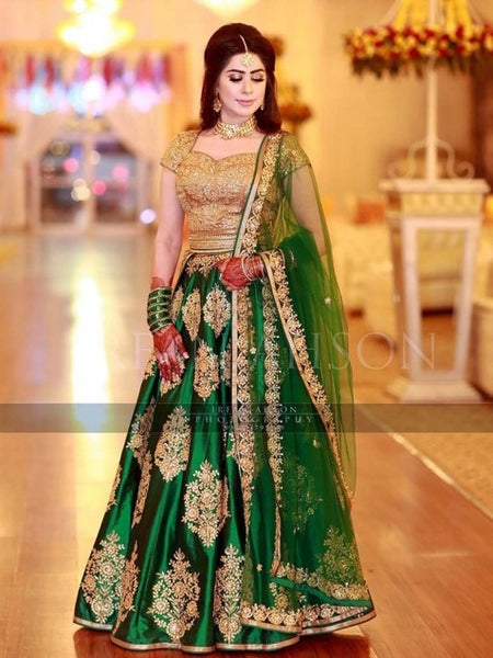Ravishing Green Taffeta Silk Embroidered Lehenga Choli With Dupatta - SL1072