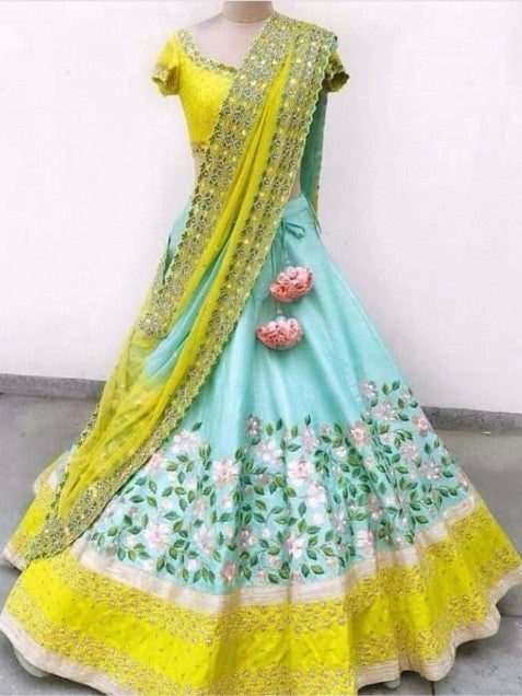 Classy Aqua Blue Taffeta Silk Embroidered Lehenga Choli With Dupatta - SL1073