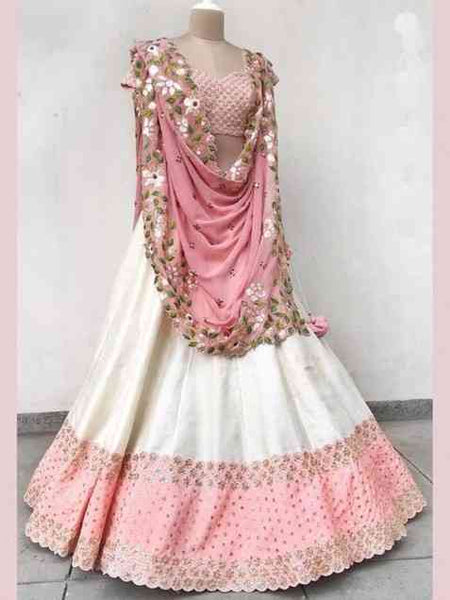 Unique White-Pink Colored Bangalory Silk Lehenga Choli With Dupatta - SL1074