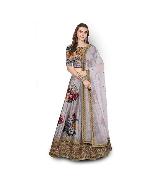Demanding Grey Colored Embroidered Border Bangalory Silk Lehenga Choli With Dupatta - SL1076