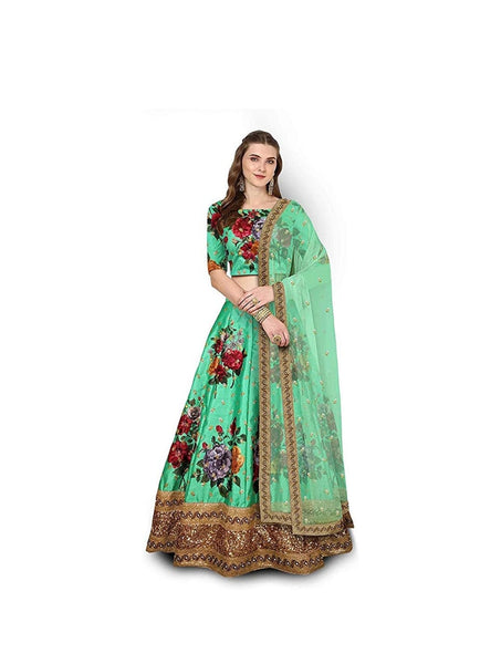Delightful Green Colored Embroidered Border Bangalory Silk Lehenga Choli With Dupatta - SL1077