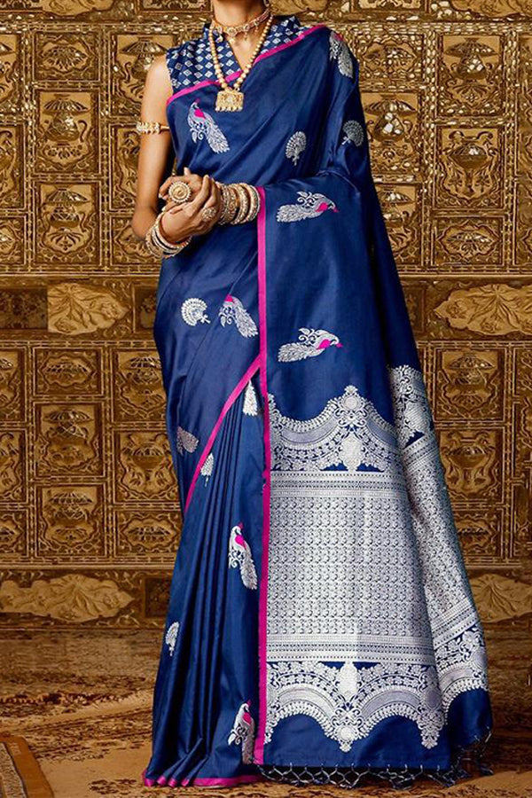 Blue Colored Festive Wear Kanjewaram Style Silk Saree - SS101