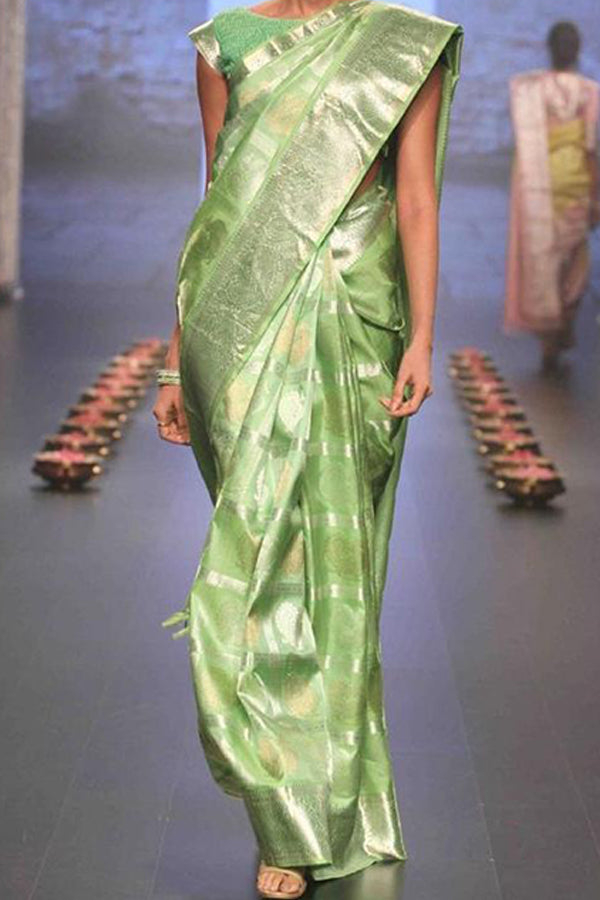 Green Festive Wear Kanjewaram Style Silk Saree - SS120
