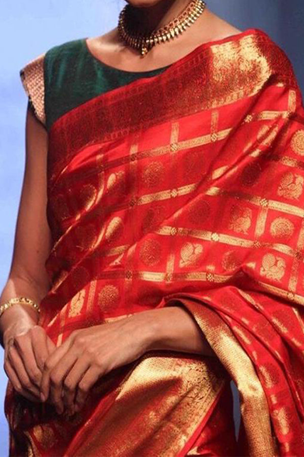 Red - Green Festive Wear Kanjewaram Style Silk Saree - SS122