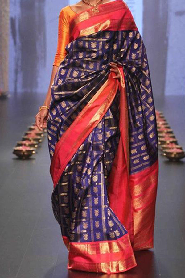 Blue Colored Pink Border Festive Wear Kanjewaram Style Silk Saree - SS128