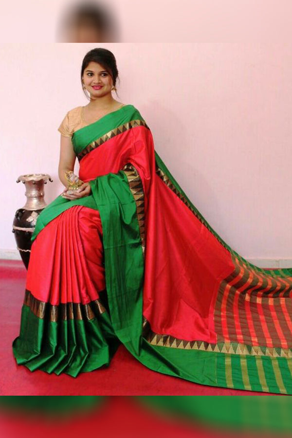 Traditional Gajree Pink Colored Green Border Silk Base Saree