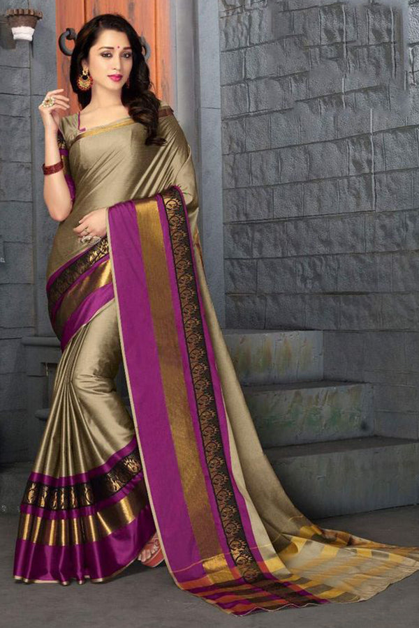 Delightful Beige Colored With Beautiful Border Silk Base Saree
