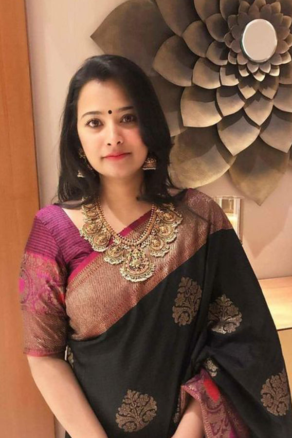 Engrossing Black Colored Silk Base Saree