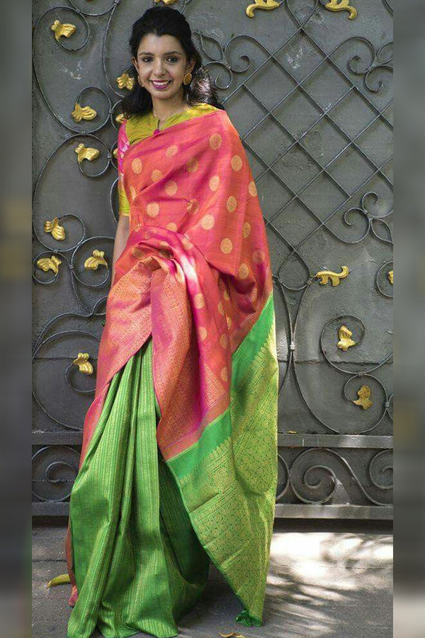 Flaunt Peach-Green Colored Silk Base Saree With Tassels