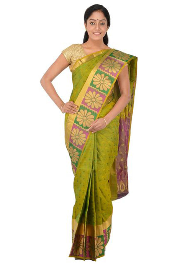 Majesty Green Colored Flower Pattern Border Silk Base Saree With Tassels
