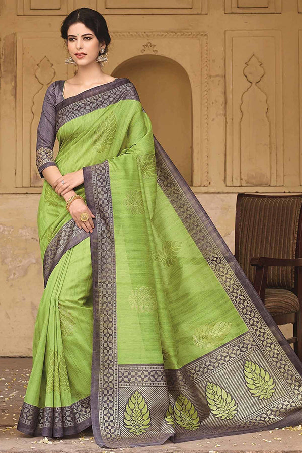 Demanding Green Colored Silk Base Saree
