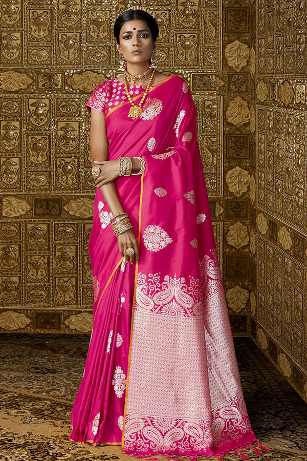 Desiring Pink Colored Designer Silk Base Saree