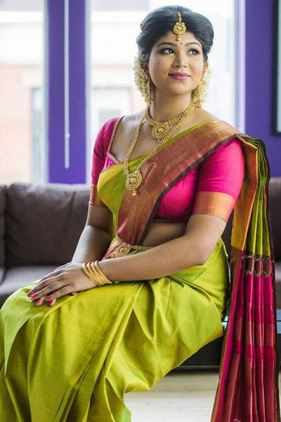 Appealing Green Colored Pink Blouse Silk Base Saree