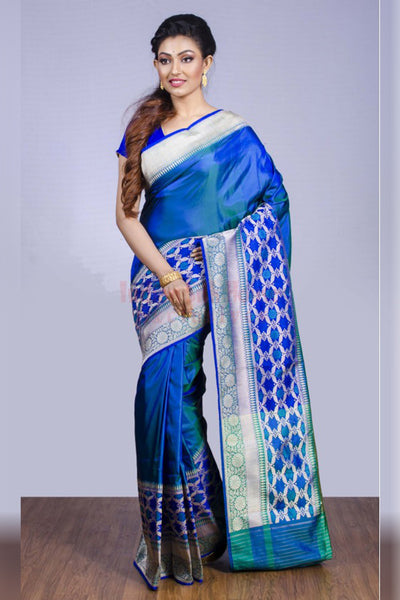 Look Beautiful in Blue in This Soft Silk Saree