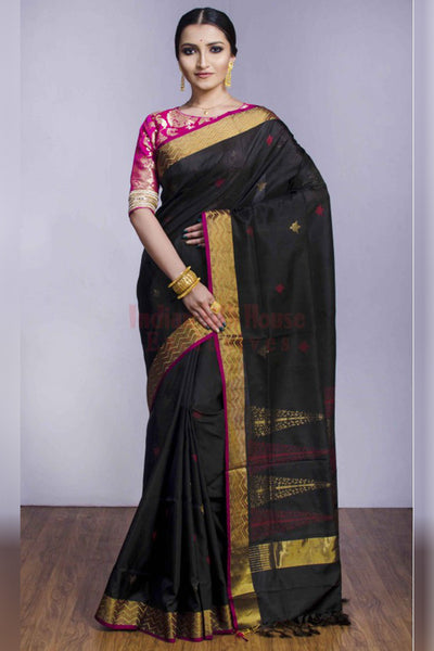 Beautiful Black Soft Silk Saree with Pink Blouse