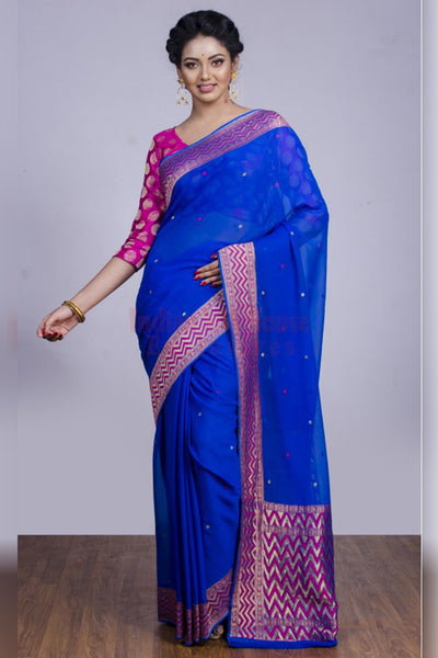 Pretty in Blue and Pink Soft Silk Saree