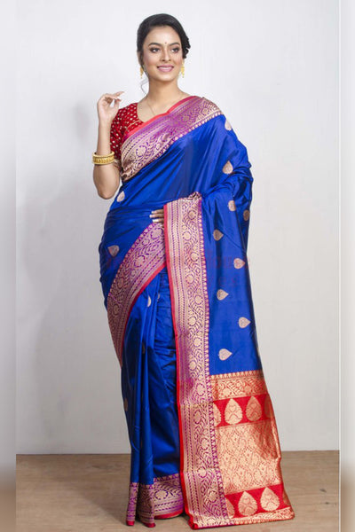 Splendid Dark Blue Soft SIlk Saree with Heavy Pallu