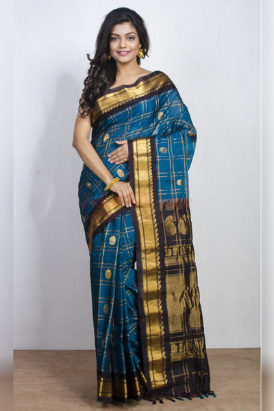 Blue Soft Silk Saree with Rich Gold Work