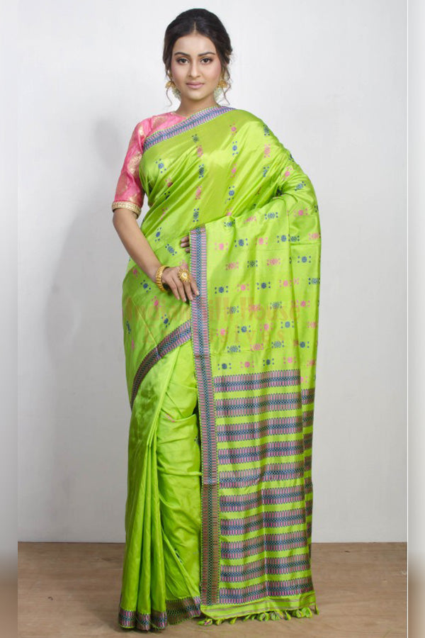 Sparkling Light Green Soft Silk Saree