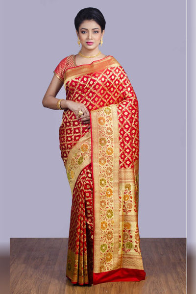 Breathtaking Red and Gold Soft SIlk Saree