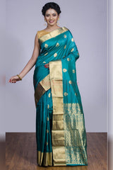 Outstanding Combination of Blue and Gold in Soft Silk