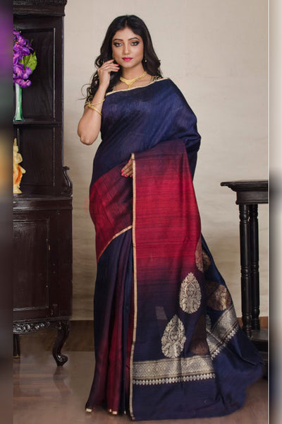 Two-toned Blue and Red Soft SIlk Saree