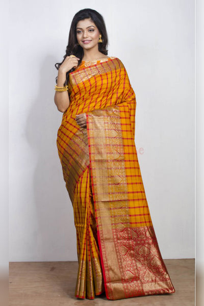 Glistening Yellow and Red Checked Soft SIlk Saree