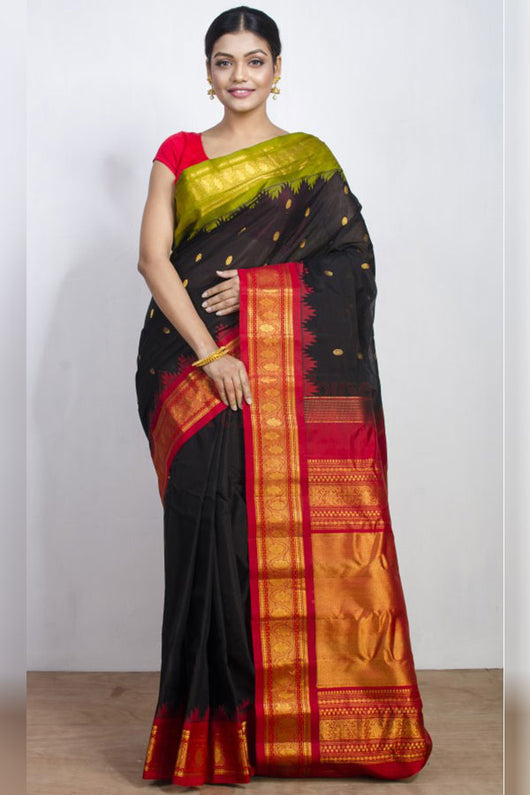 Alluring Black Soft Silk Saree