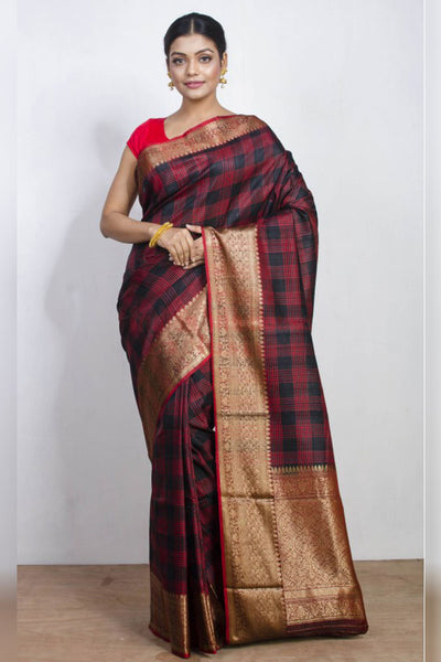 Graceful Maroon Checked Soft Silk Saree