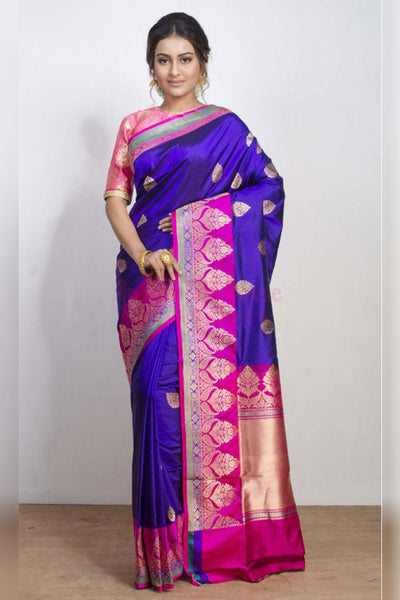 Splendid Purple and Pink Soft Silk Saree