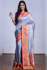 Silver and Pastel Hues Soft Silk Saree