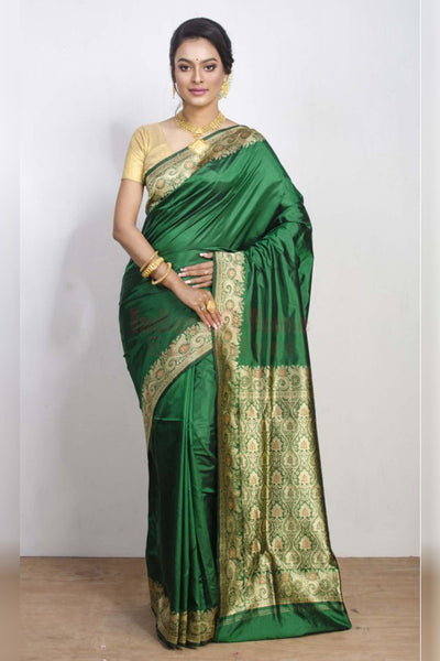 Subtly Elegant Bottle Green Soft Silk Saree