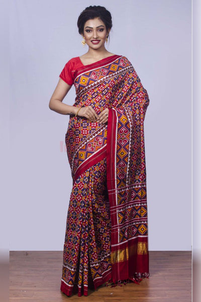 Beautiful Daily-Wear Red Printed Saree