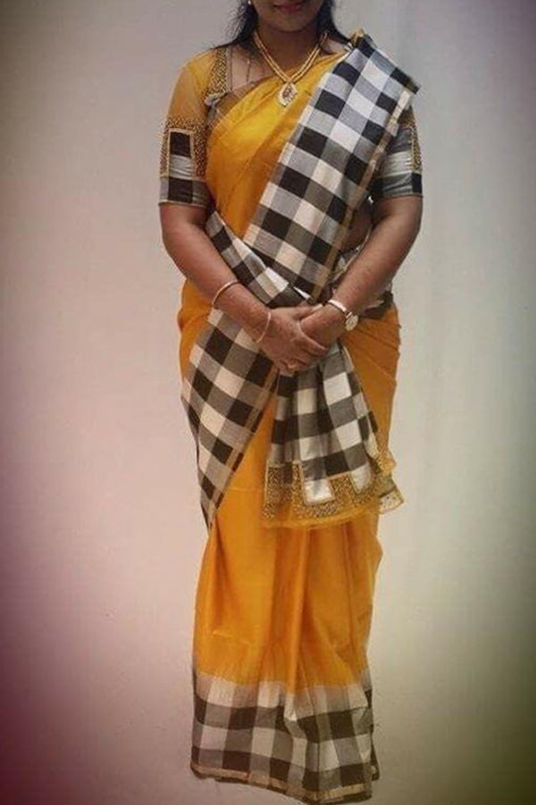 Yellow Colored Black Checks Border Festive Wear Kanjewaram Style Silk Saree - SS92