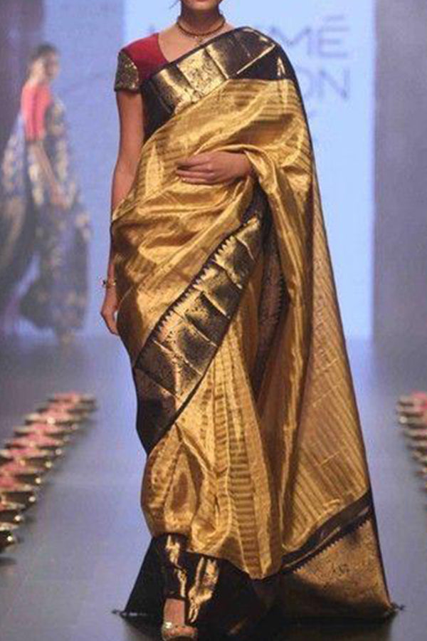 Golden Colored Black Border Festive Wear Kanjewaram Style Silk Saree - SS95