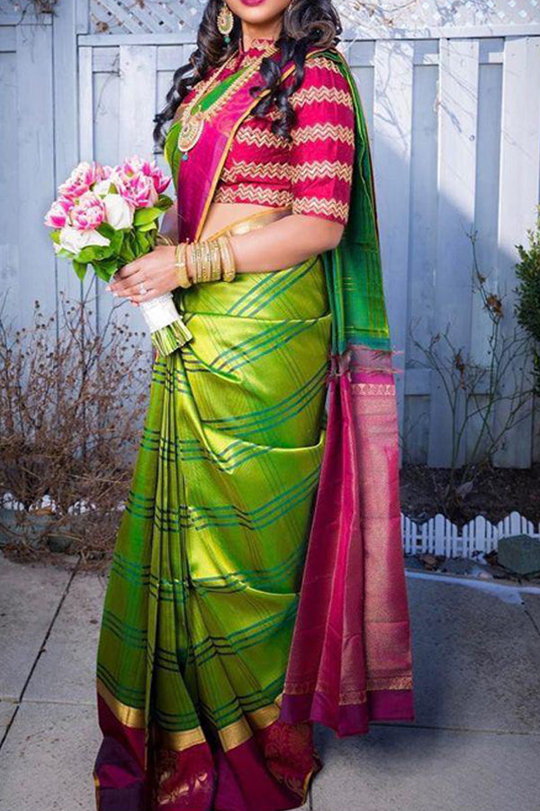 Green Colored Festive Wear Kanjewaram Style Silk Saree - SS96