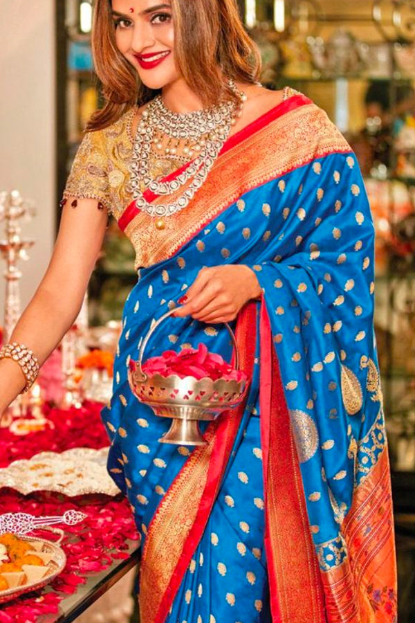 Blue Soft Silk Saree Beautiful Offset By Red and Gold Border