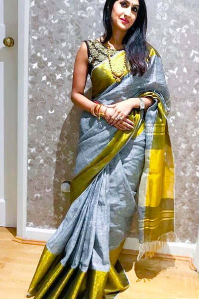 Earthy and Rich Grey and Yellow Soft Silk Saree