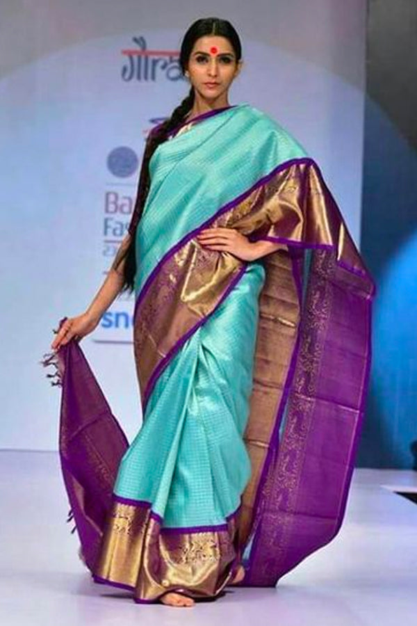 Stunningly Unique Blue Silk Saree