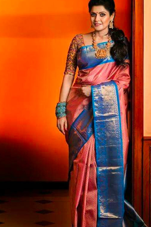 Subtly Beautiful Pink and Blue Soft Silk Saree