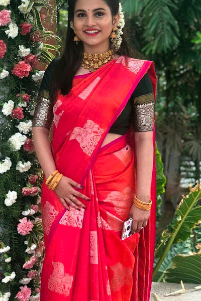 Sparkle In This Red Soft Silk Saree