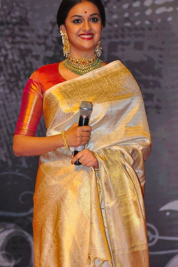 Cream and Gold Elegant Soft Silk Saree
