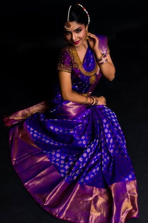 Majestic Purple Soft Silk Saree