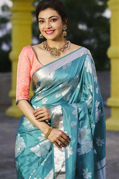 Light Blue with Silver Floral Print Soft Silk Saree