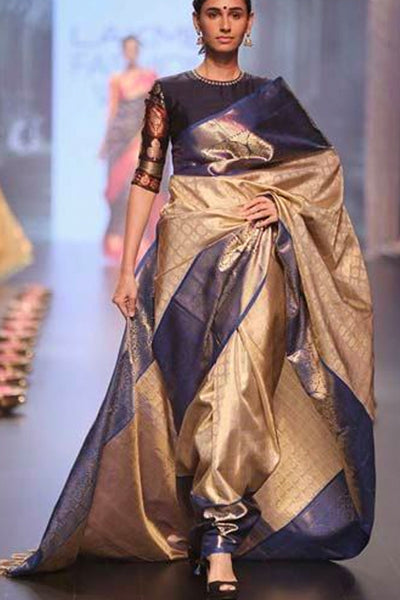 Exquisite Matte Gold and Dark Blue Soft Silk Saree