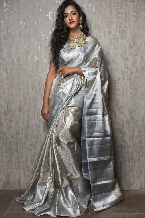 Charming and Rare Silver Soft Silk Saree